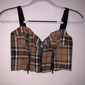plaid crop top. worn once from dolls kill